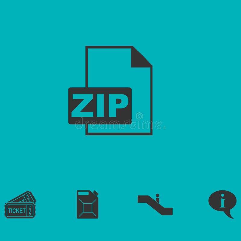 Zip Datei Ikone flach stock abbildung