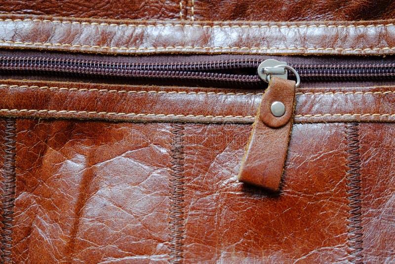 Zip della borsa di cuoio fotografie stock libere da diritti