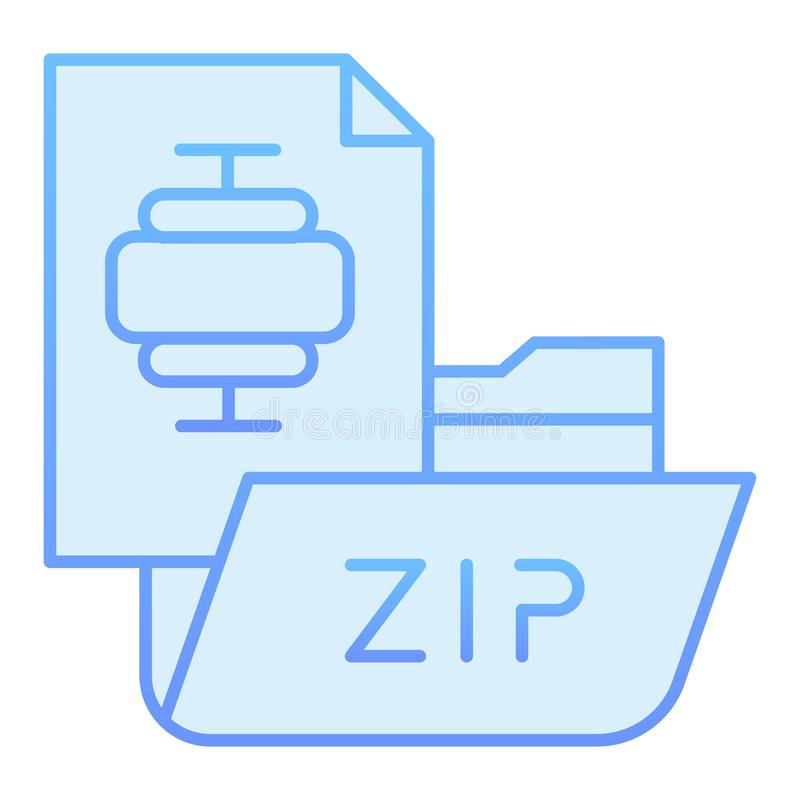 ZIP folder flat icon. Archiving folder blue icons in trendy flat style. Compressed folder gradient style design. Designed for web and app. Eps 10 royalty free illustration