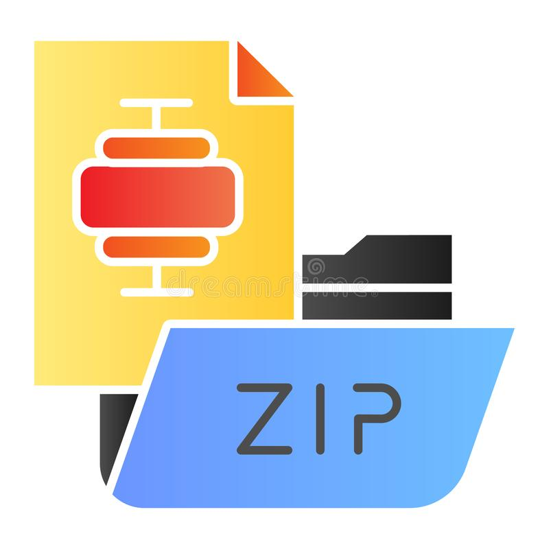 ZIP folder flat icon. Archiving folder color icons in trendy flat style. Compressed folder gradient style design. Designed for web and app. Eps 10 vector illustration