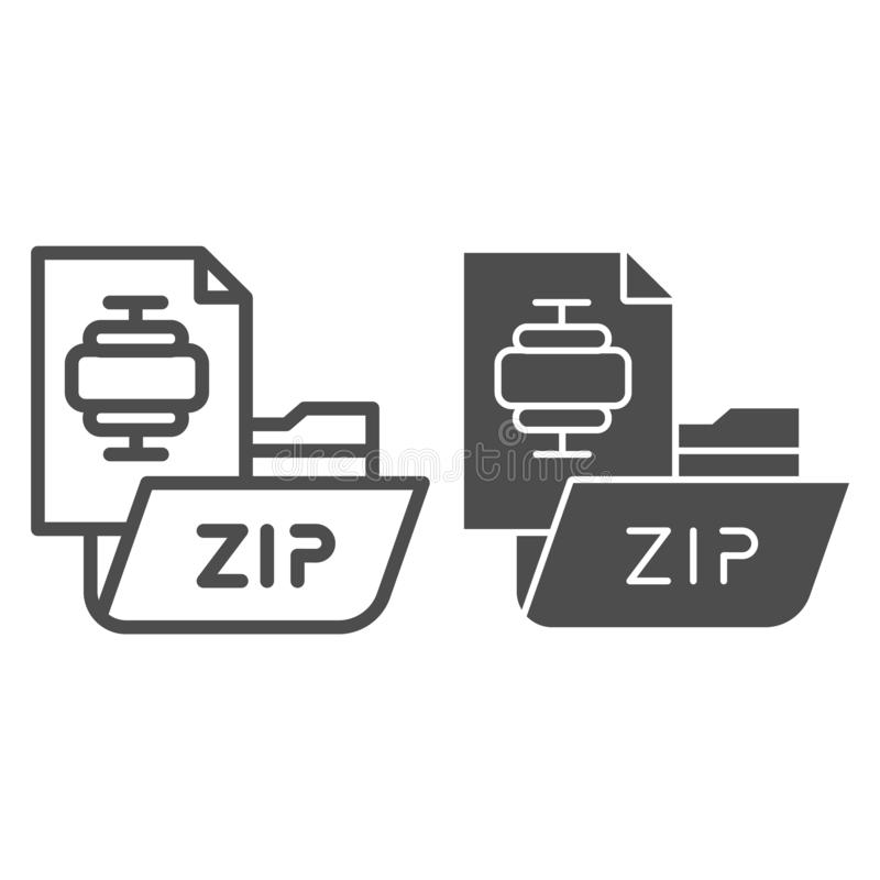 ZIP folder line and glyph icon. Archiving folder vector illustration isolated on white. Compressed folder outline style. Design, designed for web and app. Eps royalty free illustration