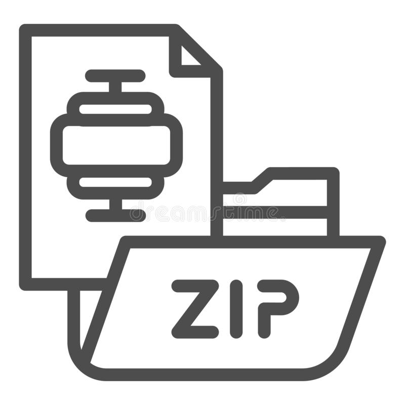 ZIP folder line icon. Archiving folder vector illustration isolated on white. Compressed folder outline style design. Designed for web and app. Eps 10 stock illustration