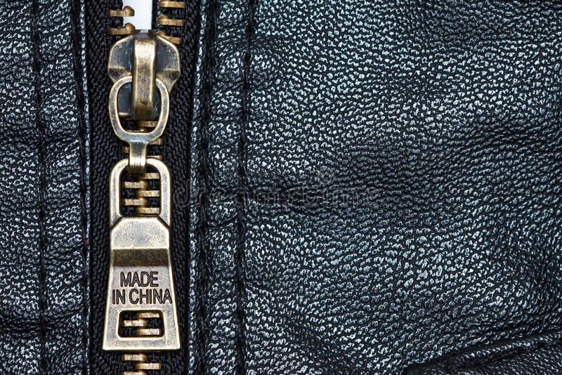 Zip on leather coat with words  Made in China