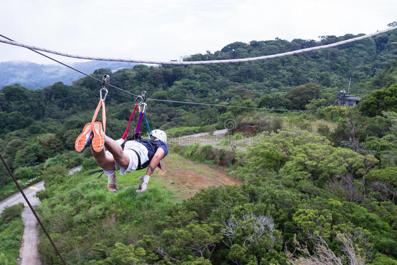 Zip line canopy tours in Costa Rica royalty free stock photos