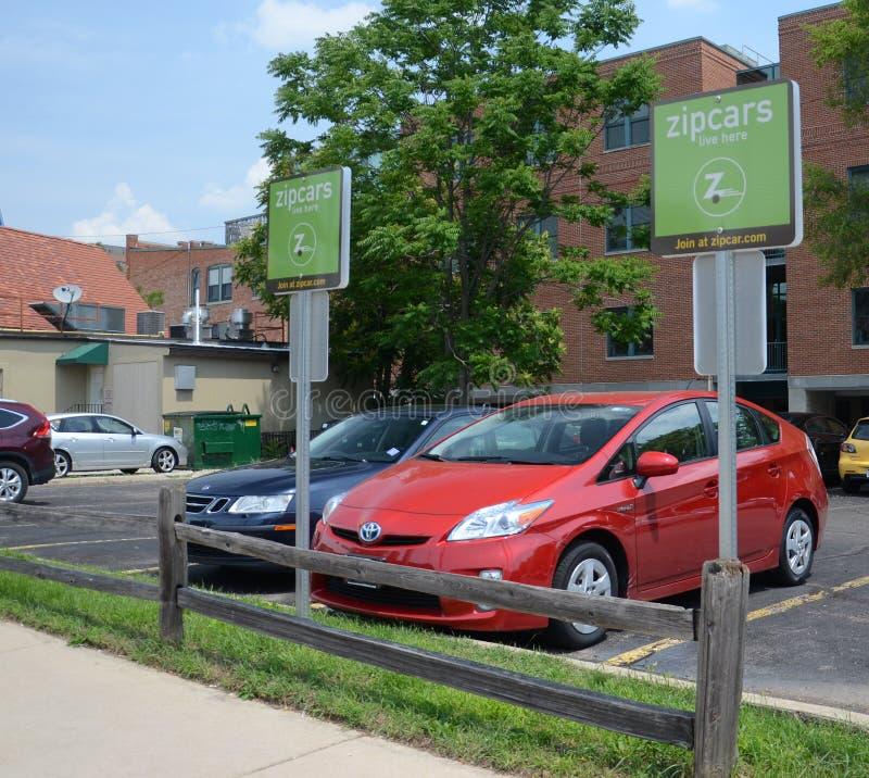 Zipcar lott i Ann Arbor arkivfoto