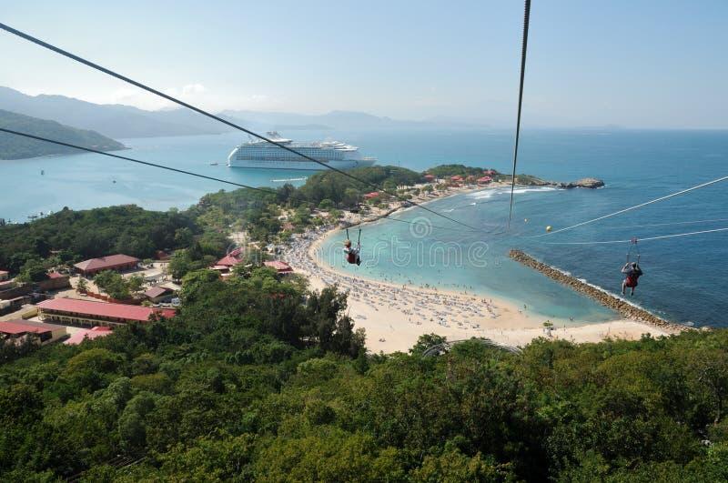 ZipLine στην Αϊτή στοκ εικόνες με δικαίωμα ελεύθερης χρήσης