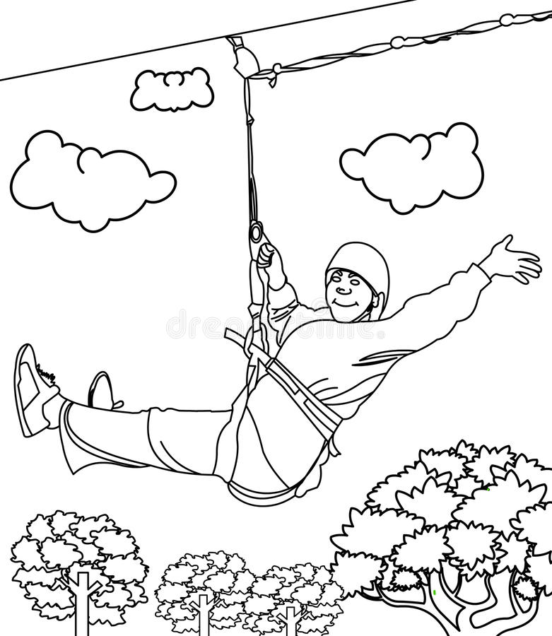 Zipline Coloring Page Stock Illustration