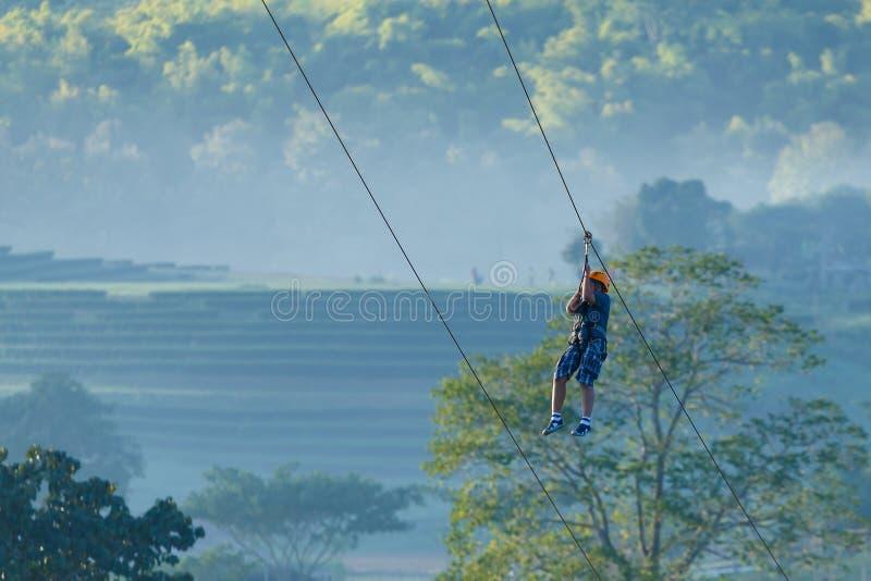 Zipline, przygoda zdjęcia royalty free