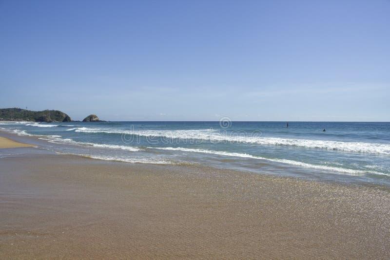 Zipolite beach, nudist beach, San Pedro Pochutla, Oaxaca Mexico. Zipolite beach, nudist beach, San Pedro Pochutla royalty free stock photos