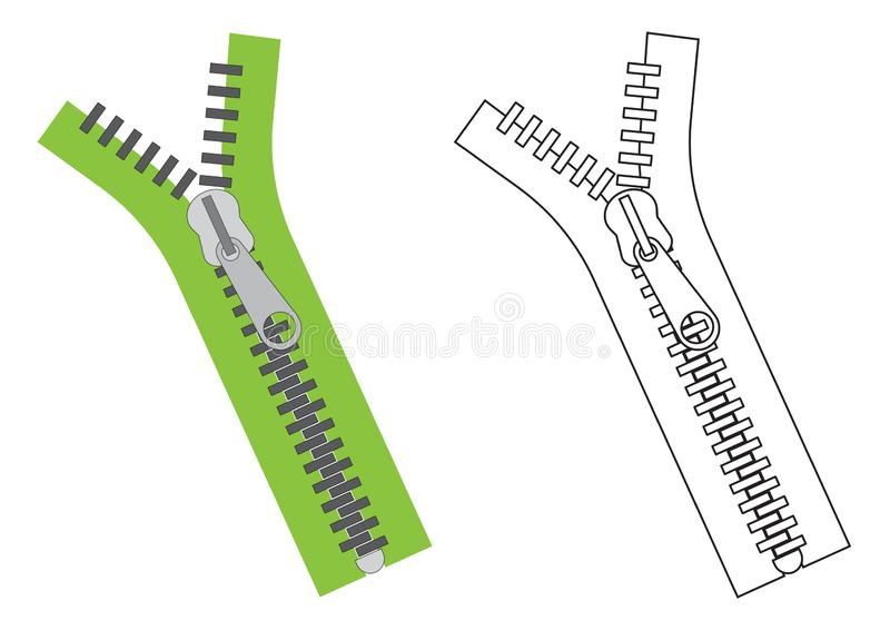 Zipper colorful and in black with white colors. Vector illustration royalty free illustration