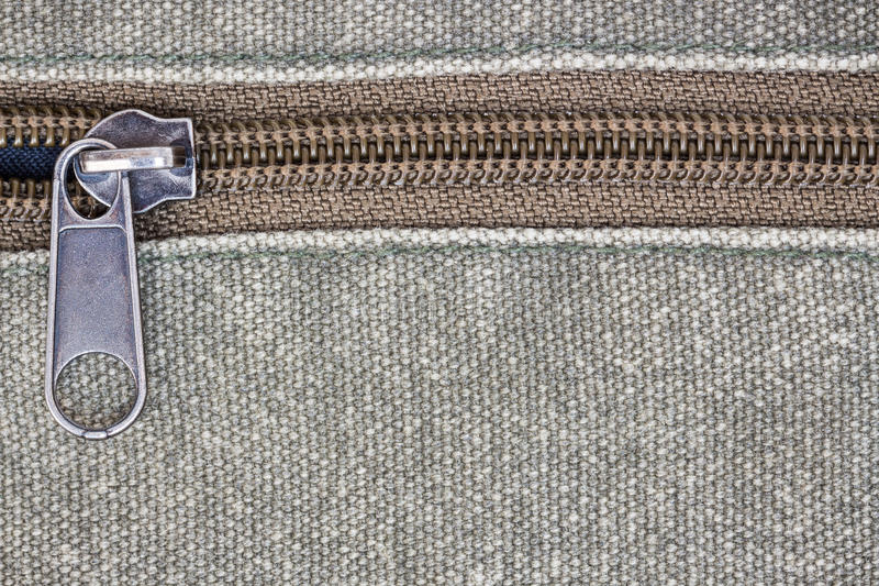 Zipper on fabric texture. Close up zipper on fabric texture stock photography
