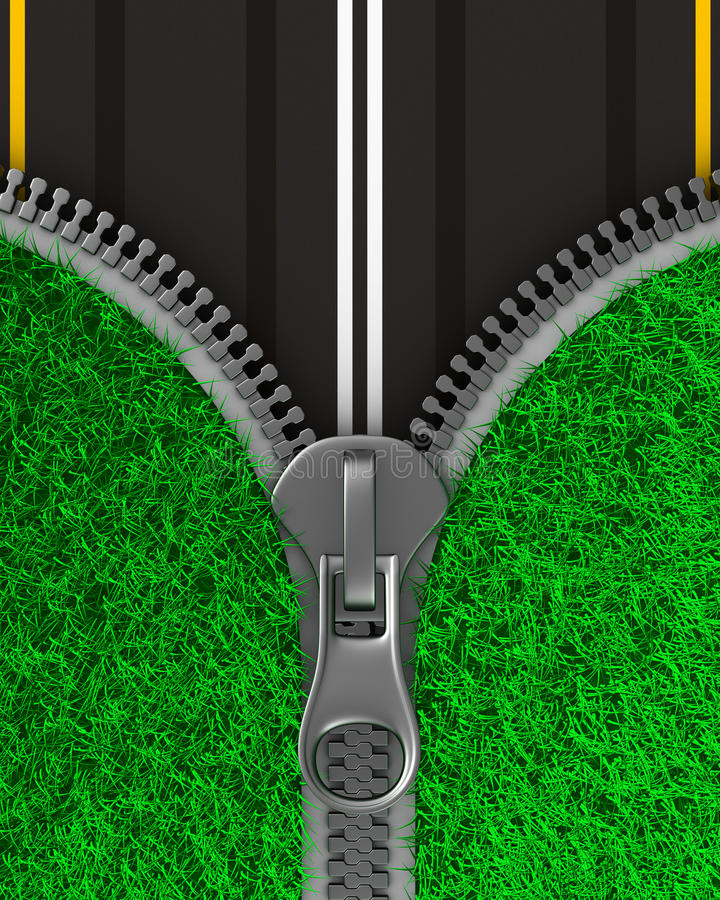 Zipper with grass and road. Isolated 3D. Image stock illustration