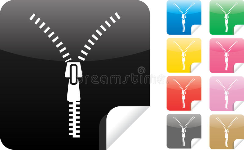 Download zipper icon on sticker stock vector illustration of edge 16000763