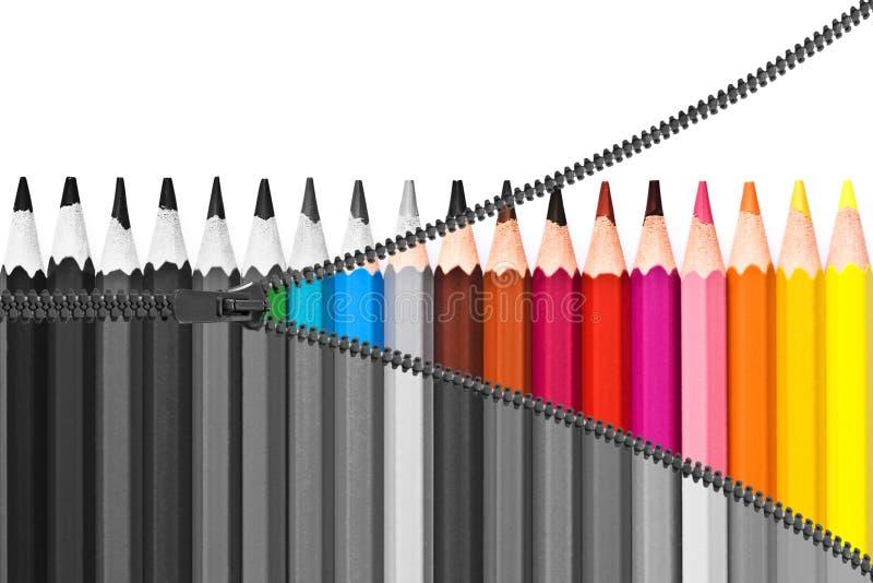 Zipper les crayons colorés de indication, de noir et blanc aux couleurs, concept d'arc-en-ciel photographie stock libre de droits
