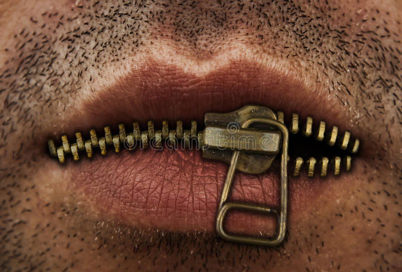 Zipper mouth stock photography