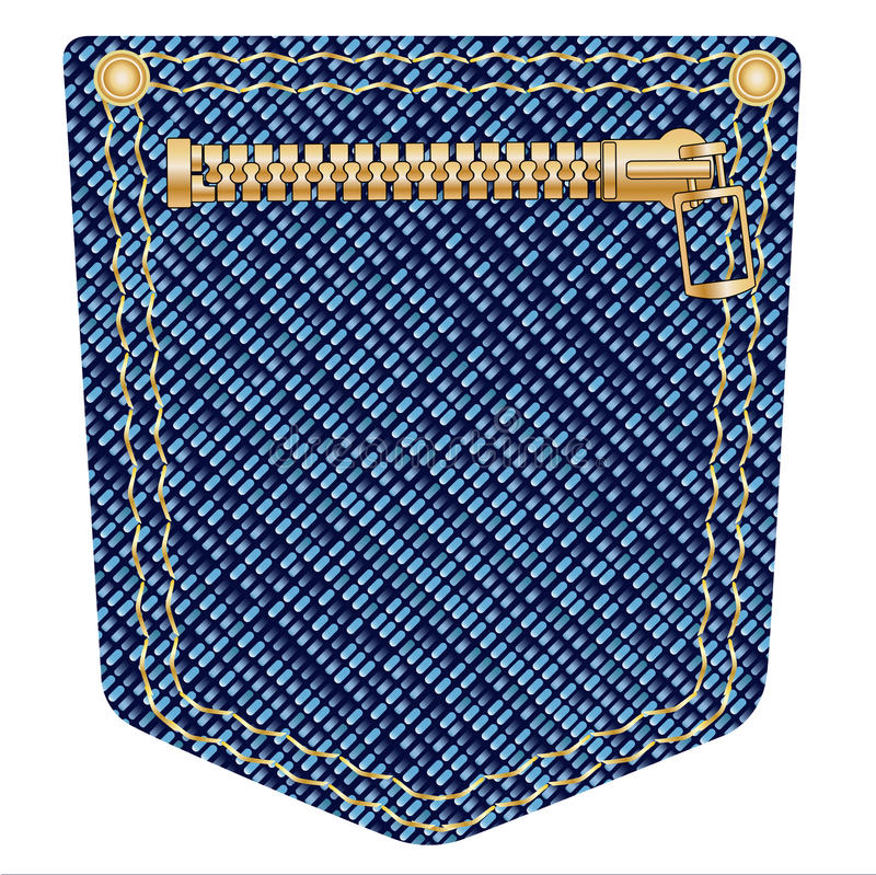 Zipper Pocket. A plain blue denim pocket with copper studs and a zipper over a white background stock illustration
