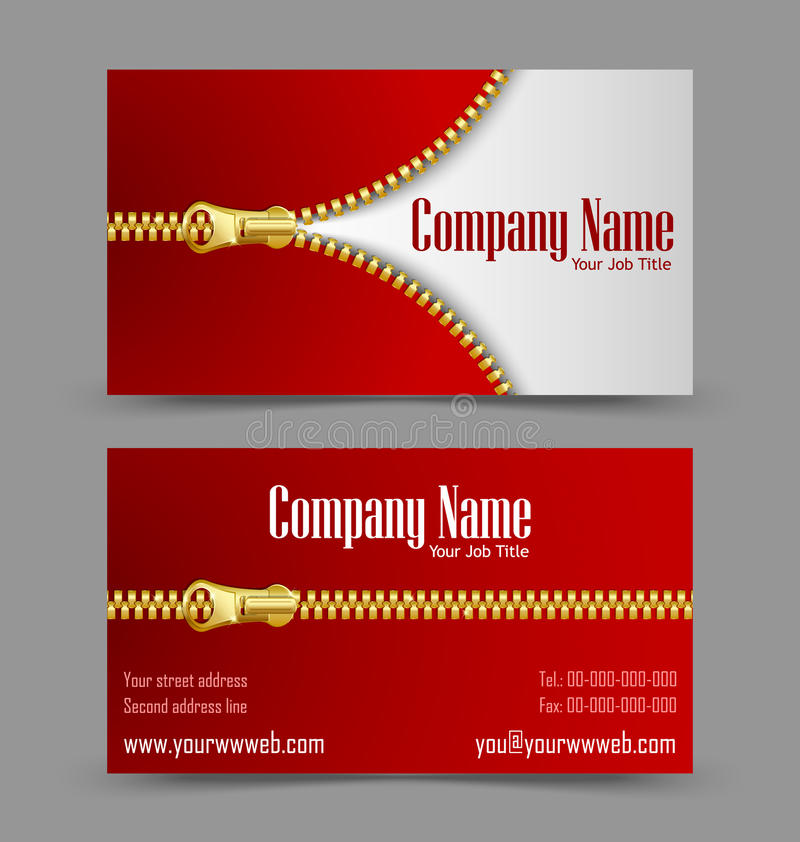 Zipper theme business card stock vector. Image of corporate - 27103931