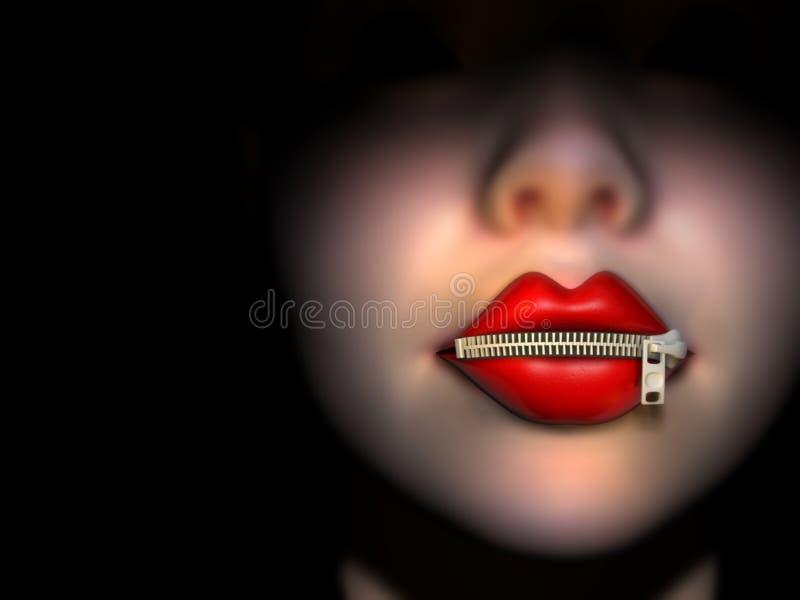 zipper usta ilustracja wektor
