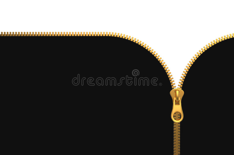 Zipper on White and Black Background royalty free illustration