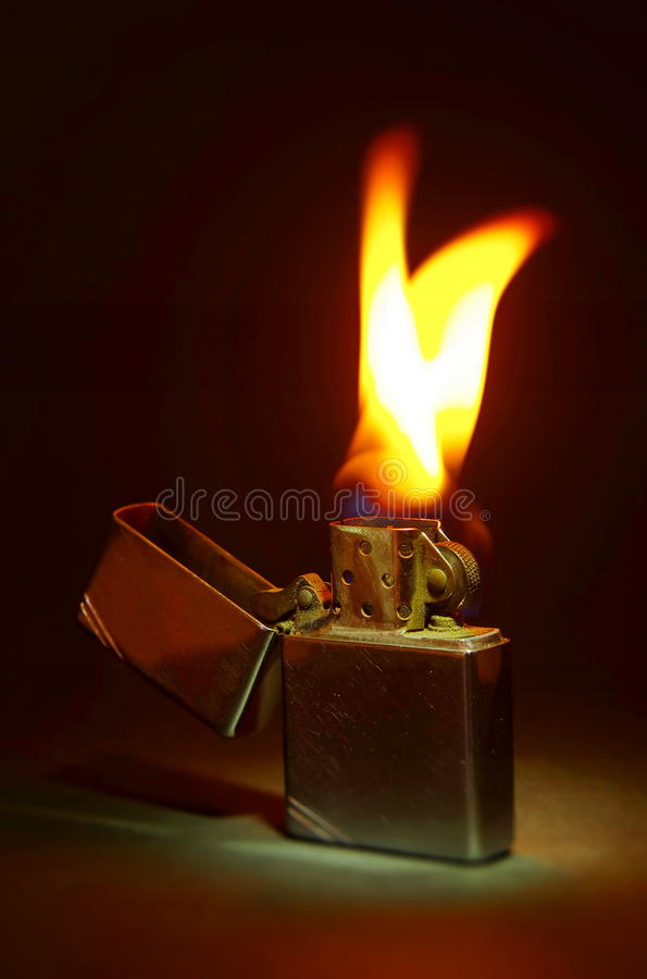 Zippo Lighter On Black Background