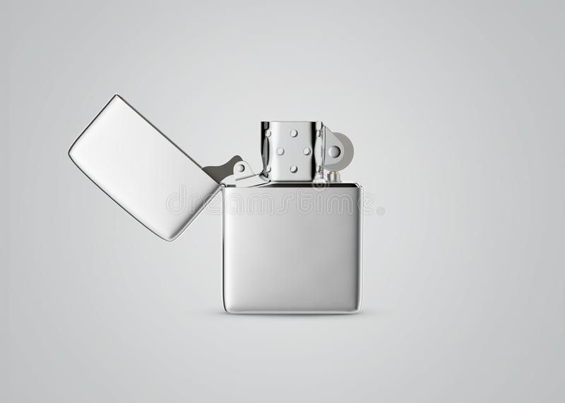Zippo style metal gasoline lighter. Surface closeup for your design. Windproof lighter isolated on white a white background. stock photography