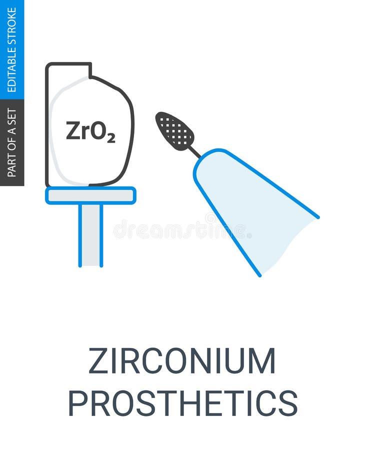 Zirconium prosthetics icon. stock illustration