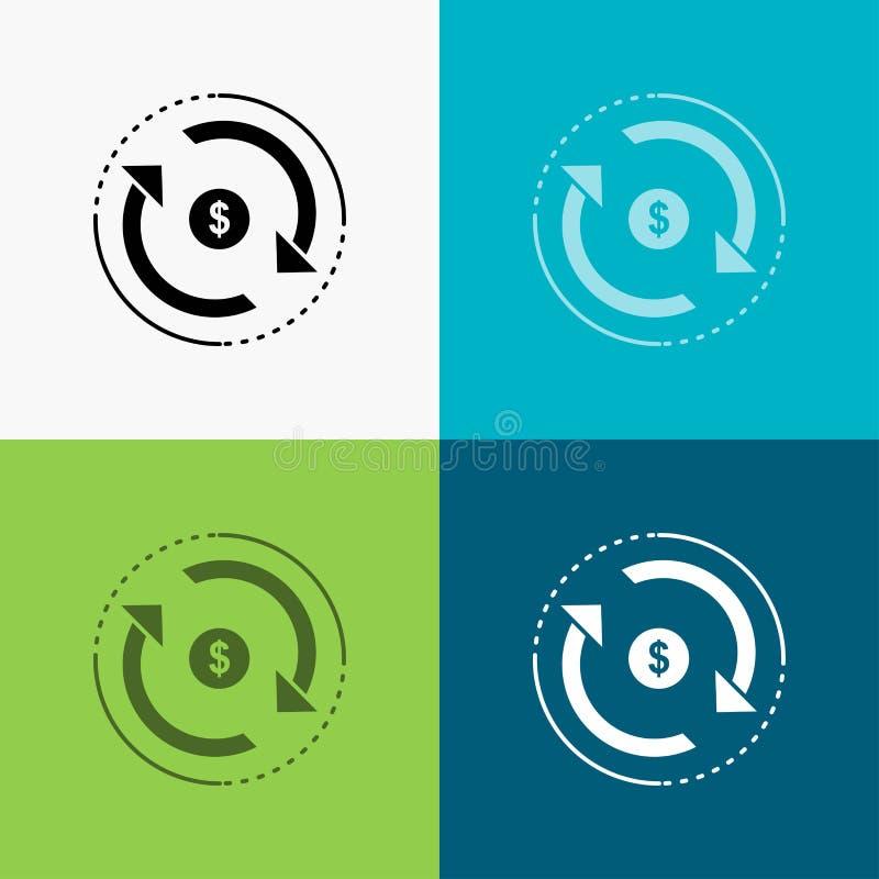 Zirkulation, Finanzierung, Fluss, Markt, Geld Ikone über verschiedenem Hintergrund Glyphartdesign, bestimmt f?r Netz und APP ENV  vektor abbildung