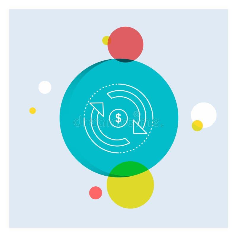 Zirkulation, Finanzierung, Fluss, Markt, Geld weiße Linie Ikonen-bunter Kreis-Hintergrund stock abbildung