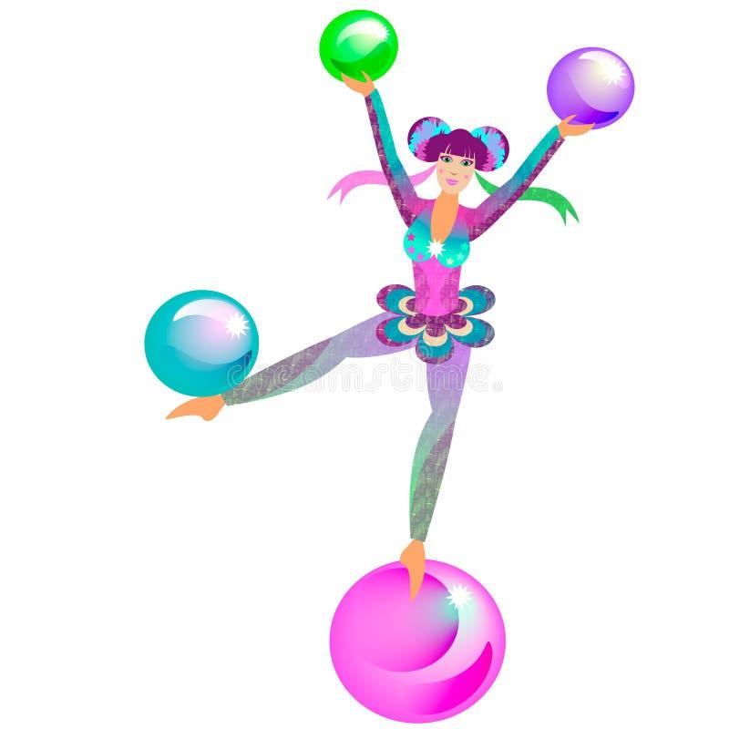 Zirkus-Akrobat-Mädchen lizenzfreie abbildung