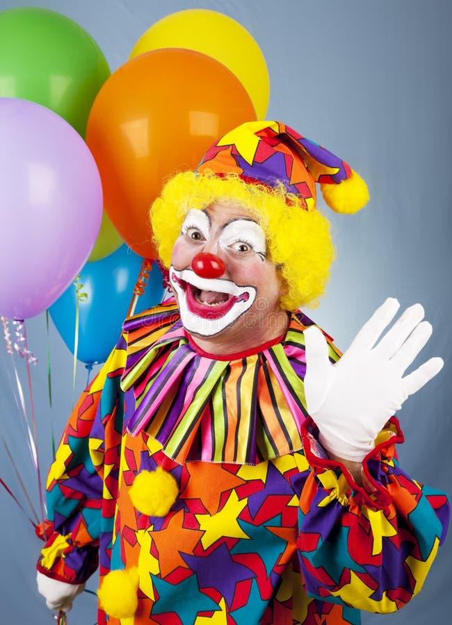 Zirkus-Clown-Wellen hallo lizenzfreies stockfoto