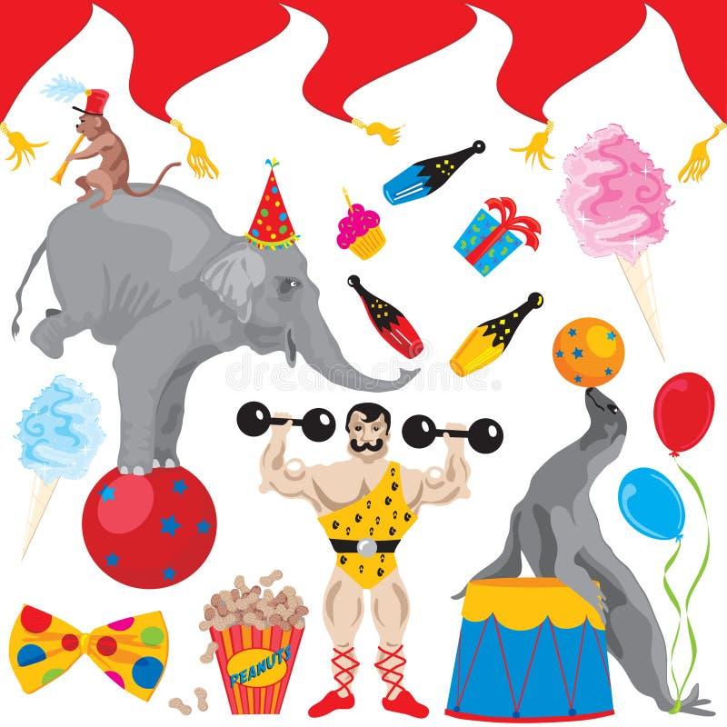 Zirkus-Geburtstagsfeier-Klippkunstikonen vektor abbildung