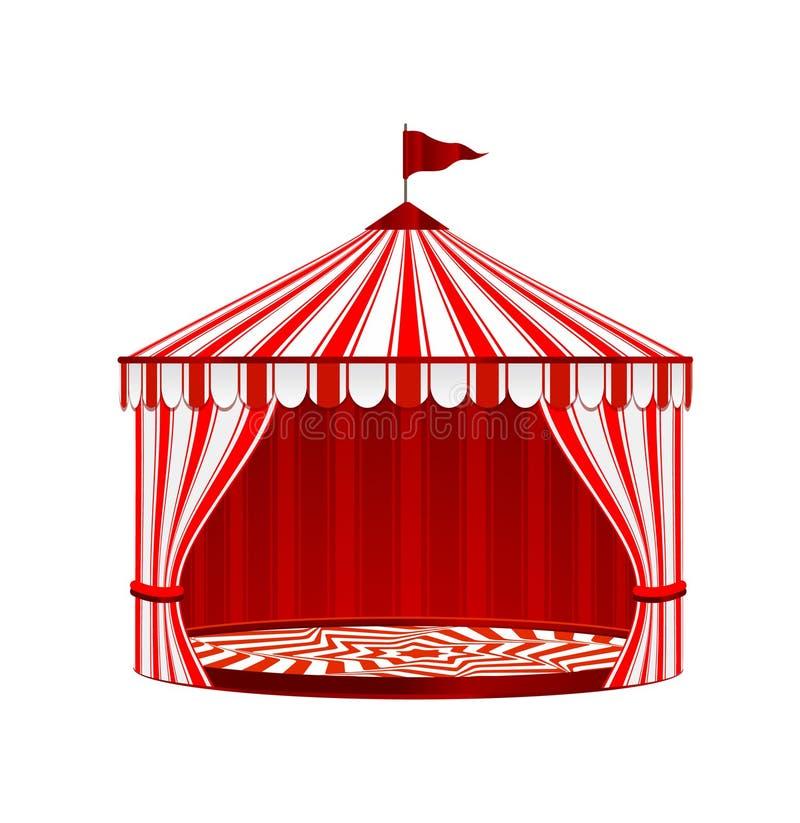 Zirkus-gestreiftes Zelt auf weißem Hintergrund Zirkus-Weinlese-Sammlung stock abbildung