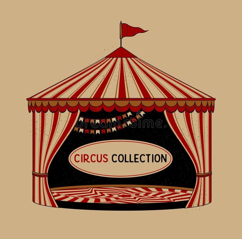 Zirkus-gestreiftes Zelt auf weißem Hintergrund Zirkus-Weinlese-Sammlung vektor abbildung