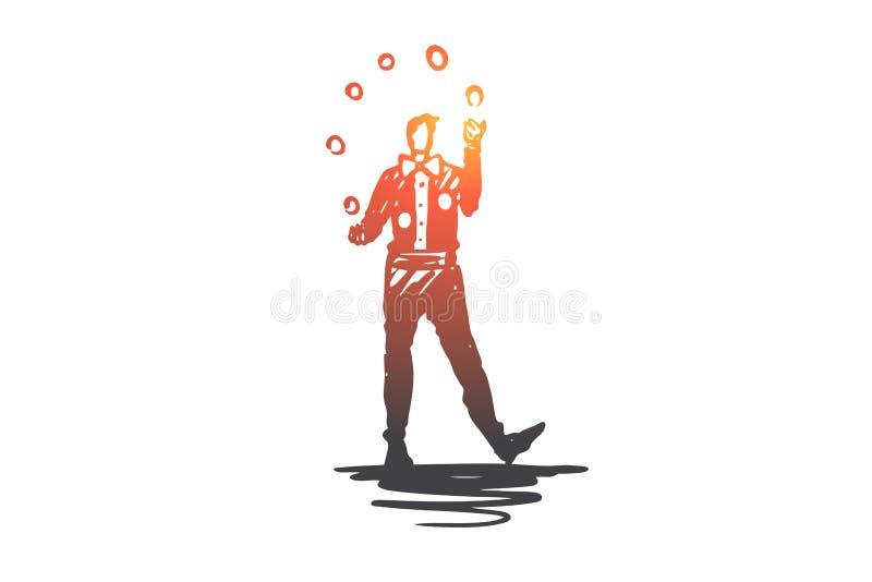 Zirkus, Künstler, Clown, Leistung, Showkonzept Hand gezeichneter lokalisierter Vektor lizenzfreie abbildung
