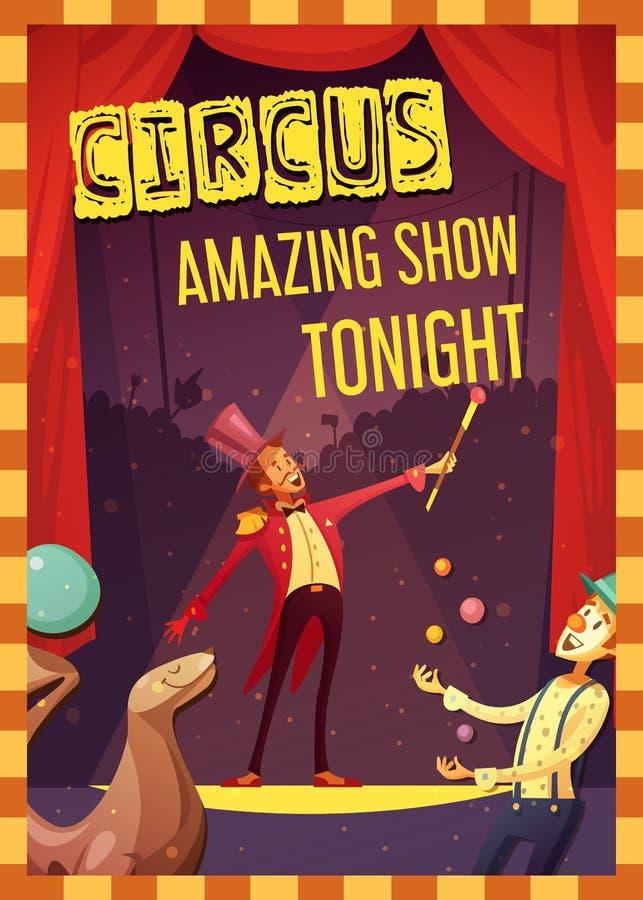 Zirkus-Leistungs-Mitteilungs-Retrostil-Plakat vektor abbildung