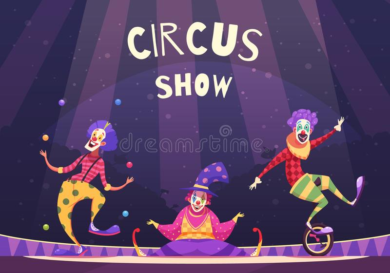 Zirkus-Show-Clown-Illustration vektor abbildung