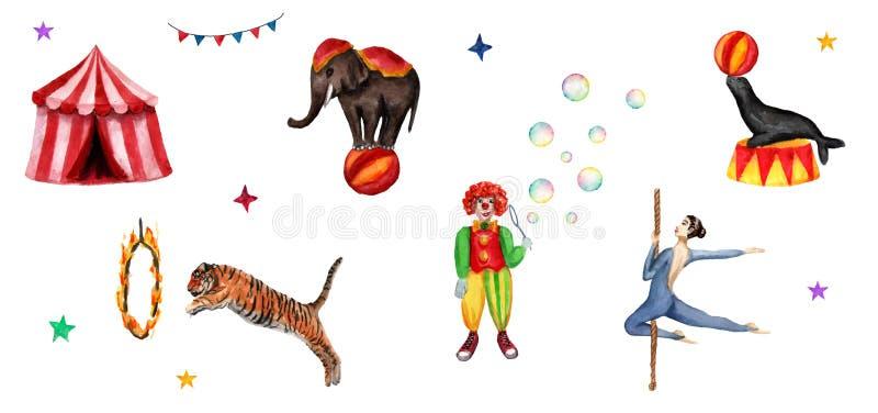 Zirkus stellte Elemente, Elefanten, Clown, Dichtung, Tiger, Zelt, Flaggen, Seifenblasen, Feuerring und einen Akrobaten ein Dekora vektor abbildung