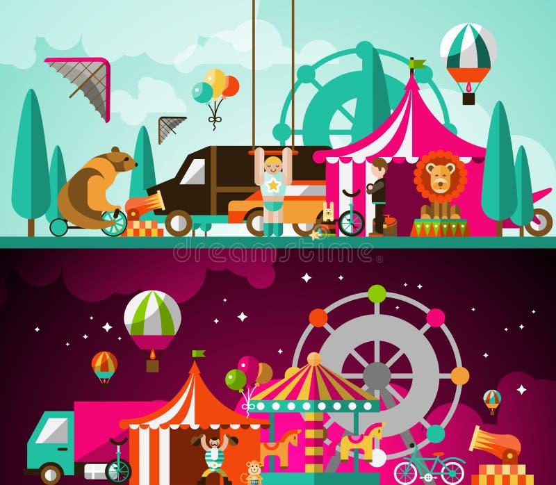 Zirkus Tag und Nacht vektor abbildung