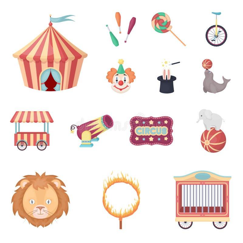 Zirkus und Attributkarikaturikonen in der Satzsammlung für Design Zirkus-Kunstvektorsymbolvorrat-Netzillustration stock abbildung