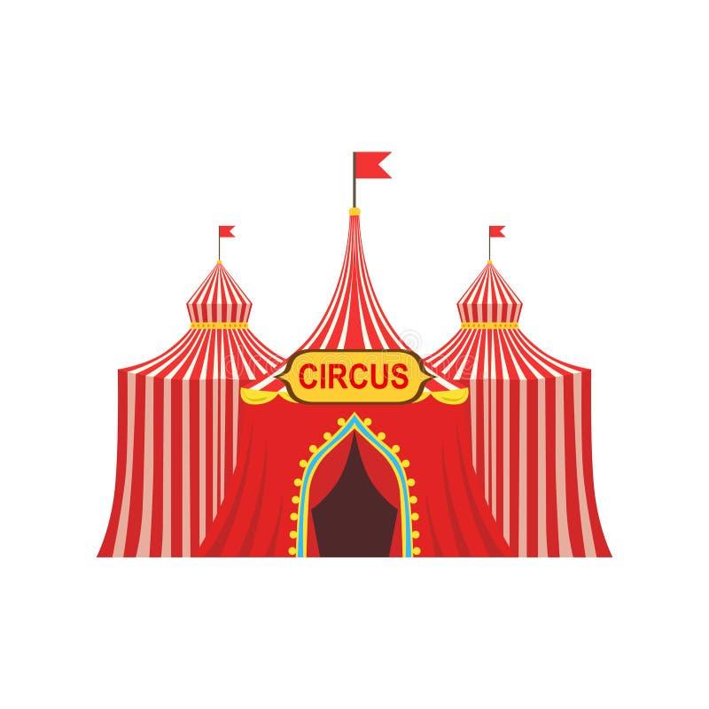 Zirkus-vorübergehendes Zelt im gestreiften roten Stoff mit Flaggen und Eingangs-Zeichen lizenzfreie abbildung