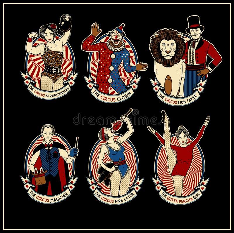 Zirkus-Weinlese-Sammlung Lion Tamer, der Clown, die Zirkus-starke Frau, der Zirkus-Magier, das Zirkus-Feuer lizenzfreie abbildung