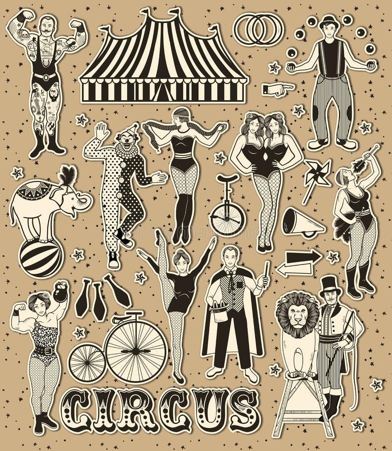 Zirkus-Weinlese-Sammlung Lion Tamer, der Clown, die Zirkus-starke Frau, der Zirkus-Magier, das Zirkus-Feuer vektor abbildung