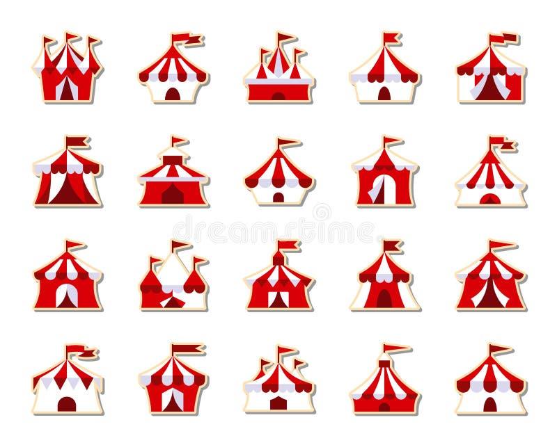 Zirkus-Zeltfleckenaufkleberikonen-Vektorsatz stock abbildung