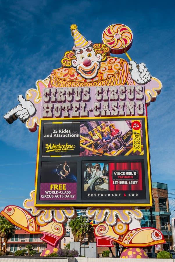 Zirkus-Zirkus-Zeichen Las Vegas stockfotos