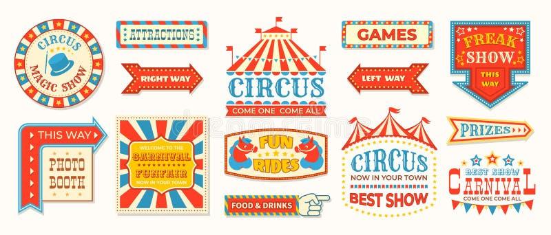 Zirkusaufkleber Begr??en Retro- Fahnenzeichen des Karnevals, magische Rahmen der Weinlese und Pfeilelemente, die Showgr??e Vektor stock abbildung