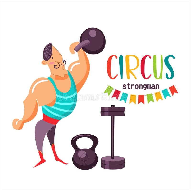 Zirkusausführender Starker Mann des Zirkusses, der schwere Gewichte anhebt Auch im corel abgehobenen Betrag vektor abbildung