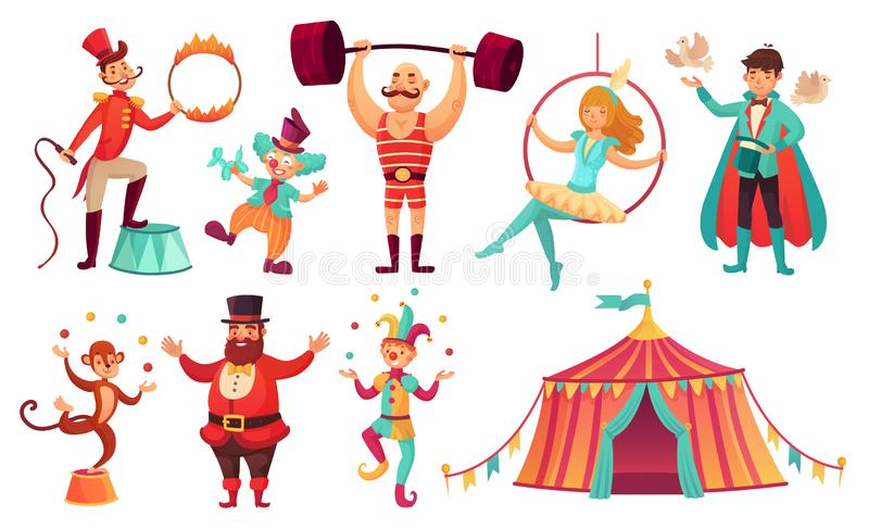 Zirkuscharaktere Jonglierende Tiere, Jongleurkünstlerclown und Ausführender des starken Mannes Karikaturvektor-Illustrationssatz stock abbildung