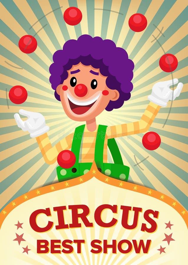Zirkusclown-Show Poster Template-Vektor Partei-Vergnügungspark Für Ihre Werbung Abbildung lizenzfreie abbildung