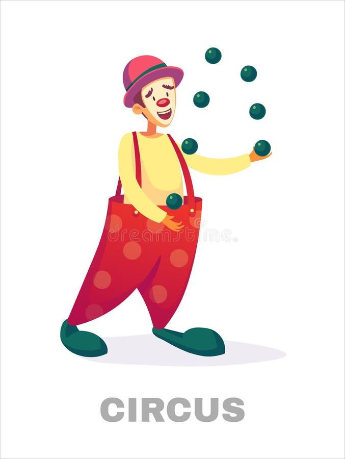 Zirkusclowns Karikaturclownschauspieler, der im Zirkuskostüm mit der Ballon Vektorillustration lokalisiert auf Weiß jongliert stock abbildung