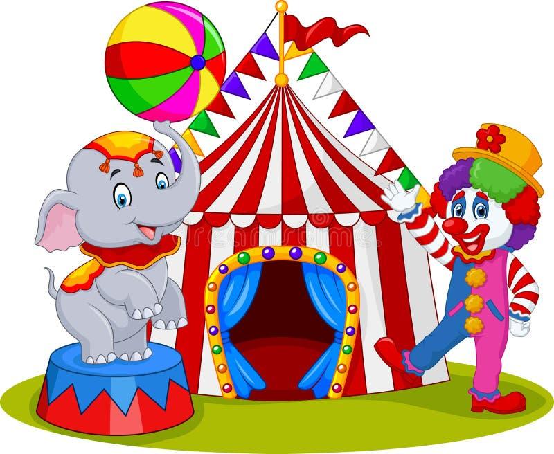 Zirkuselefant und -clown mit Karnevalshintergrund lizenzfreie abbildung